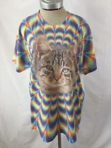Gildan-CAT-t-shirt-tie-dye-top-Size-L-large-short-sleeve