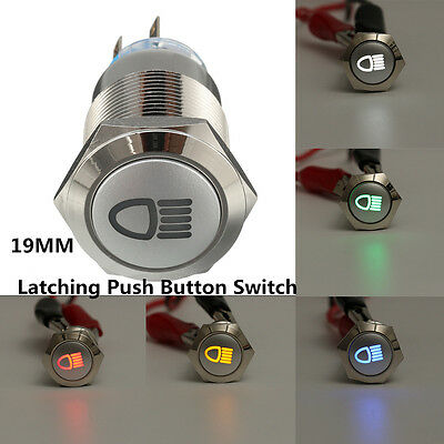 12V 19mm 5 Pin LED Push Button Metal latching Switch for Car Fog lights ON/OFF