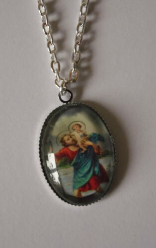 """religious ICON pendant OVAL necklace GLASS  charms 16/""""18/"""" silver plated chain"""