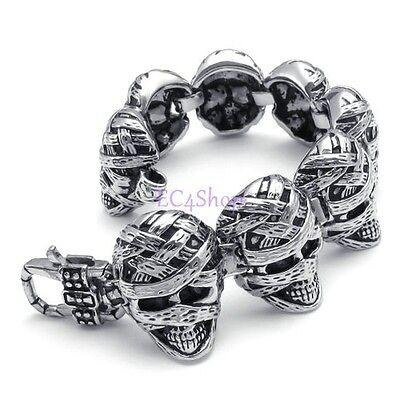 """Men's Punk Heavy Gothic Biker Pirate Skull Silver Stainless Steel Bracelet 8"""""""