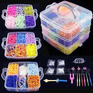 Pcs colorful rainbow rubber loom bands bracelet making kit set fun diy