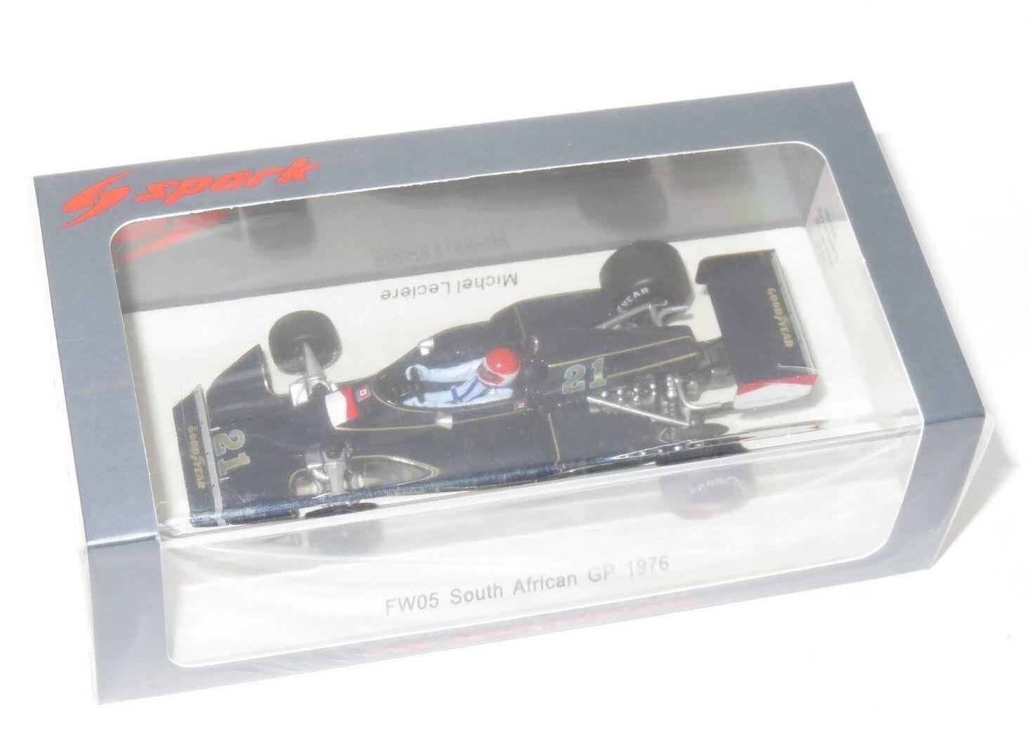 1/43 SPARK MODEL Williams FW05 del Sud Africa GP 1976  21 M. Leclere