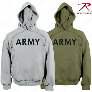 bdd25649 Men's Army Pullover Hoodie Sweatshirt - Rothco OD or Grey PT Hooded ...