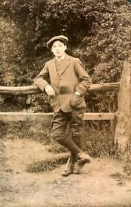 Antique RPPC postcard real photograph portrait of a gentleman Charles Bennett