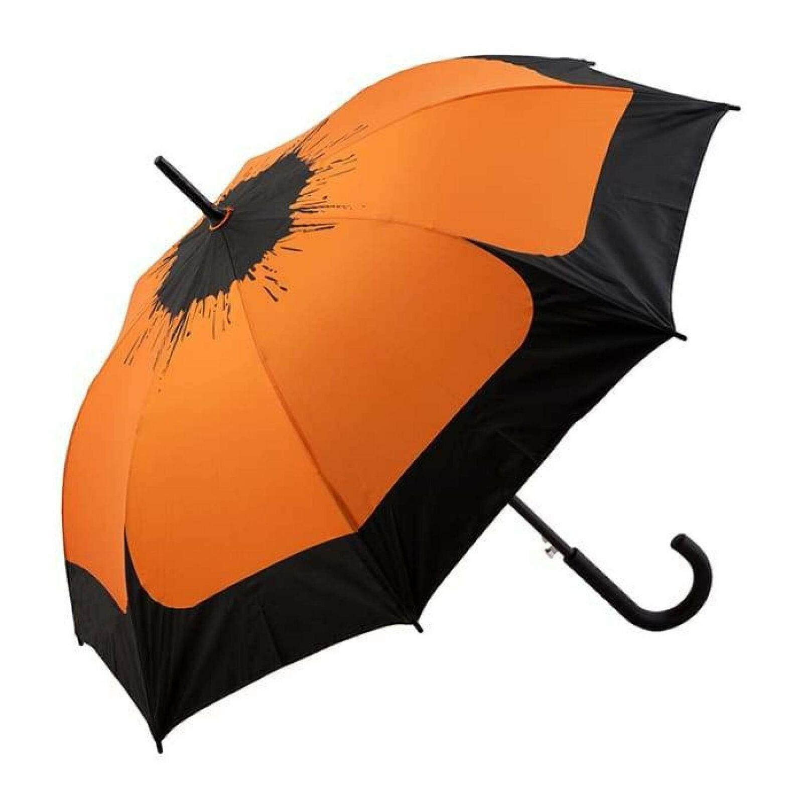 Clifton Auto Fibreglass Hand Printed Walking Flower Orange Rain Umbrella