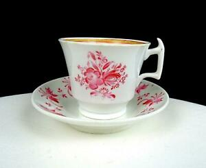 "ENGLISH PORCELAIN LONDON SHAPE PINK FLORAL 2 1/2"" DEMITASSE CUP & SAUCER 1815-30"