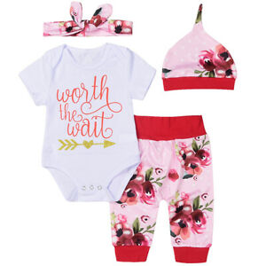 dc1b055ecc84 Newborn Baby Girl Floral Romper +Pants +Hat +Headband Coming Home ...
