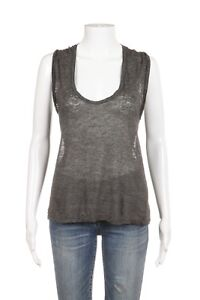 a31af1556e8e62 ISABEL MARANT Tank Top XS Linen Gray Sheer Scoop Neck Sleeveless ...