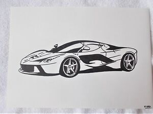 A4 art marqueur stylo croquis dessin voiture ferrari laferrari supercar poster ebay - Croquis voiture ...