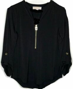 160-Michael-Kors-Women-039-s-Black-Gold-Zip-Front-Woven-Pocket-Blouse-Top-Size-M