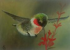 Hummingbird Original ACEO RUBY THROATED Oil Hand Painted Bird Signed by JV