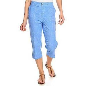 NEW - OSO Casuals™ Printed Woven Elastic Waist Capri Pants ...