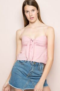 c4acd33f164ab Brandy Melville Red Striped Sasha Tie Front Cropped Tank Top NWT xs ...