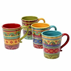 Image is loading Southwestern-Coffee-Mug-Set-Multicolor-Set-of-4-  sc 1 st  eBay & Southwestern Coffee Mug Set Multicolor Set of 4 Ceramic Kitchen ...