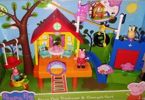 Peppa-Pig-039-s-Treehouse-and-George-039-s-Fort-Playset-w-Working-Lights-Sounds-NEW