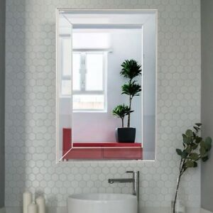 Details About Bathroom 3 Inch Wall Mounted Large Flat Framed Vanity Mirror Edge Beveled Frame