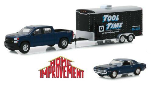 Home Improvement set 1969 Chevrolet Camaro 19 silverado tráiler GreenLight 1:64