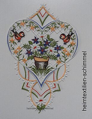 Plauener Spitze ® Fensterbild Sommer Fensterdekoration Herz Frühling Blume Vogel