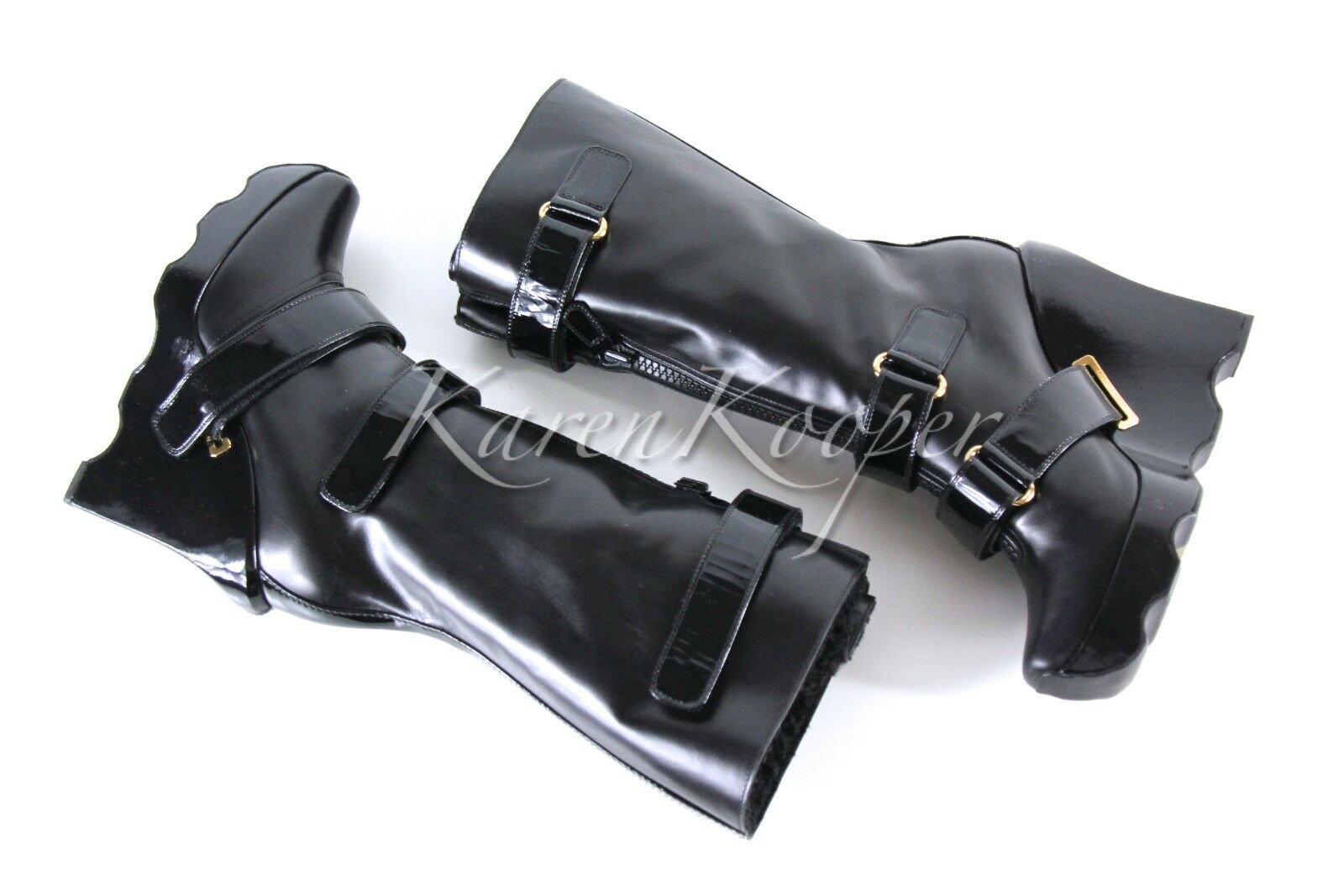 NEW AUTH LOUIS VUITTON RUNWAY EXTREME WEDGES LEATHER FETISH HIGH WINTER BOOTS