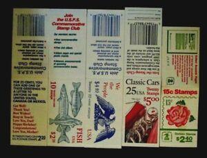 US Postage Stamp Booklets, Lot of 5 books, MNH OG fv: $16.20