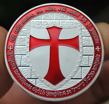 Knights Templar Cross Silver plated Red layered souvenir Medal