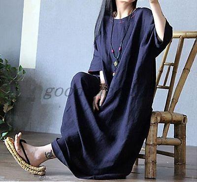 New Women Leisure Maxi Plus Size Linen Long Dress Caftan Gown Loose Fit Blue