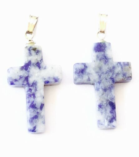 Rosary Findings Pair Sodalite Gemstone rosary cross charms-Pendants