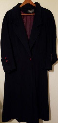 Vintage Women's Sz M Portrait Blue Wool Coat Winte