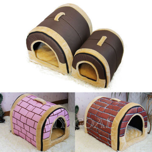 S/M/L Soft Pet Dog Bed House Kennel Mat Pad Warm Washable Puppy Cat Cushion