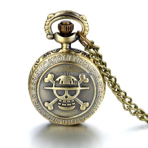 Taschenuhr Kupfer Farbe Totenkopf Schädel Uhranhänger Pullover Ketten Halskette