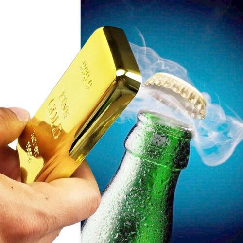 Gold Bar Bottle Opener /& Magnet Golden Bullion Fridge Beer Bar Kitchen Utensils