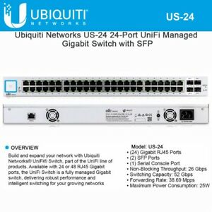 Details about Ubiquiti US-24 - UniFiSwitch, 24-Port, NO PoE included