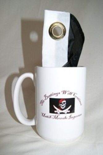 12oz Pirate The Beatings Will Continue Coffee Ceramic Mug w// 12x18 Beatings Flag