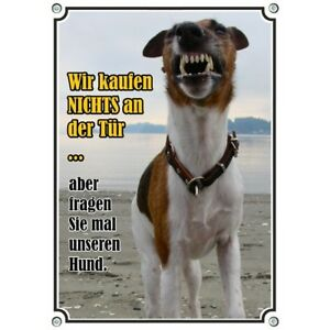 Bouclier de chien en acier inoxydable - Nous n'achetons rien sur le panneau d'avertissement de porte