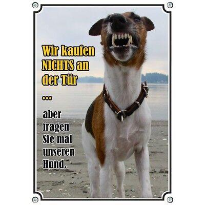 Aggressiv Hundeschild Aus Rostfreiem Metall - Wir Kaufen Nichts An Der Tür - Warnschild Ohne RüCkgabe