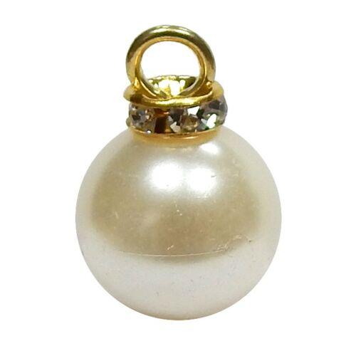 1.30 EUR//Stück Perlenknopf mit Strassrosette 12mm champage