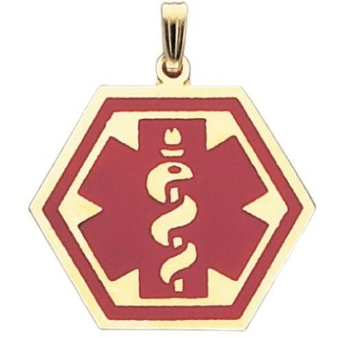 10k or 14k Yellow gold Medical Alert Red or bluee Hexagon Pendant Charm