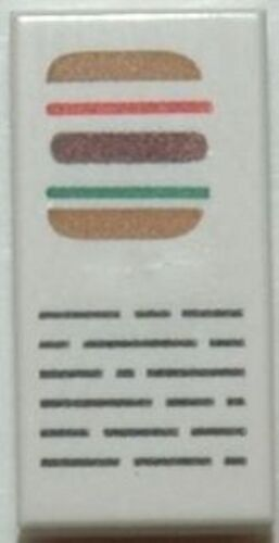 Tile 1 x 2 with Hamburger and Writing Pattern White LEGO Spongebob