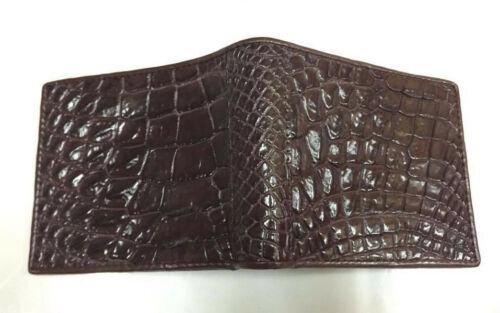Genuine Alligator Wallets Crocodile Belly Skin Leather Bifold Men/'s Brown Purses