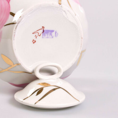 25 fl oz Porcelain Sugar Bowl with Roses Decal Russian Dulevo Kuznetsov China
