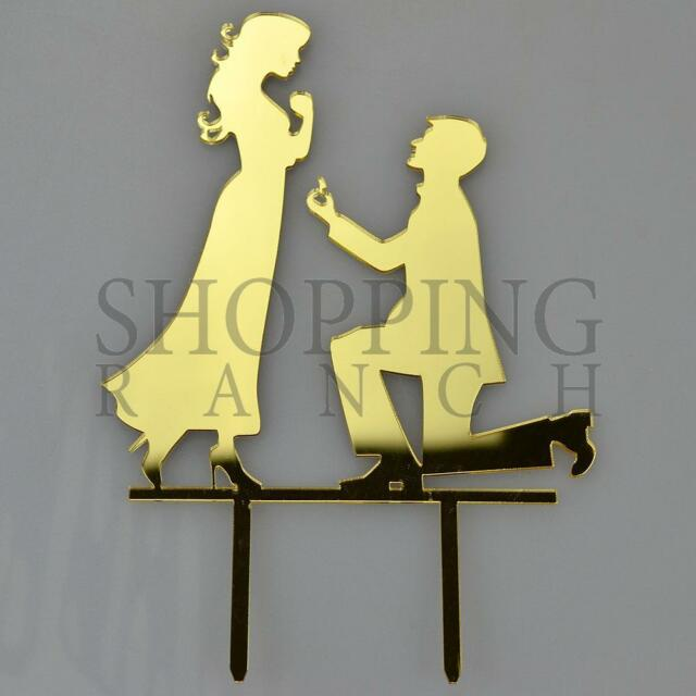 Engagement Proposal Bride Groom Gold Acrylic Wedding Day Cake Topper ...