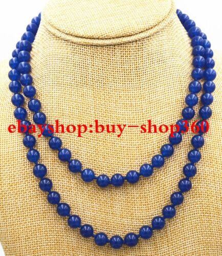 """Nouveau AAA 6 mm Saphir Bleu Perles Rondes Gemme Collier 36/"""""""