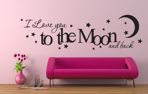 I Love you To The Moon And Back Wall Art Vinyl Decal Sticker Bedroom Decoration