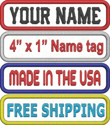 CUSTOM EMBROIDERED NAME TITLE PATCH 1 X 4 INCH BIKER VEST TAG MADE IN USA