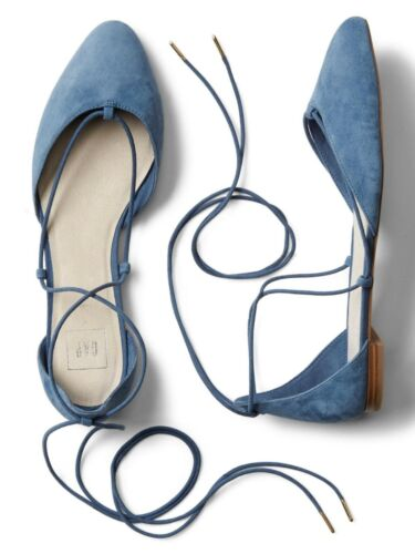 NEW Gap Womens Suede Leather Lace-up d/'Orsay flats Shoes Blue Camel 9 9.5 $59