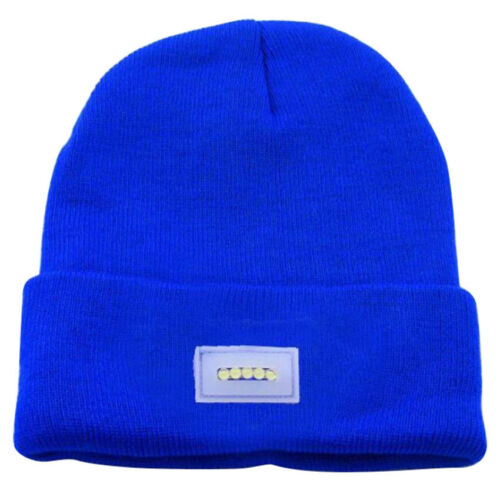 New 5-LED Light Cap Knit Beanie Hat with 2 Batteries for Hunting Camping Running