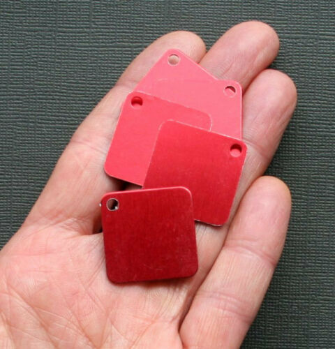 "10 Aluminum Stamping Tags Anodized Aluminum Red 1/"" Squares MT038"