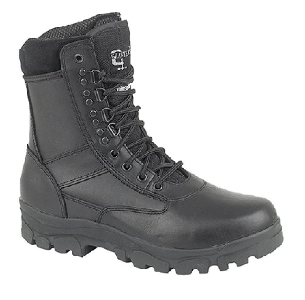 Unisex Grafters 'TOP GUN' Combat Military Boots Thinsulate lined Black Leather/C