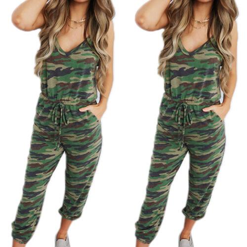 Women Camo V Neck Jumpsuit Playsuit Camouflage Loose Pants Ladies Casual Romper