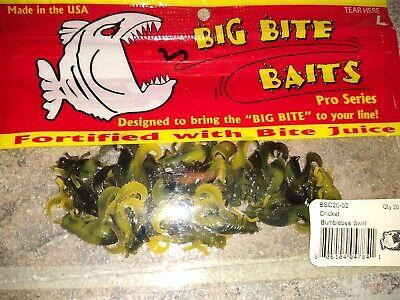 Big Bite Baits Pro Series cricket bumblebee swirl Crappie 20 Per//Pack